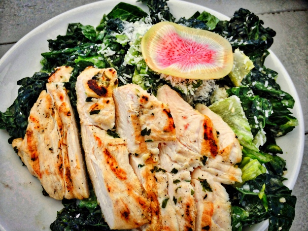 The grub- Kale Caesar with Chicken- yummy!