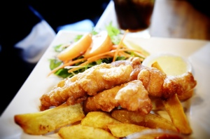 Fish and Chips at Redoubt Cafe- a gut bomb