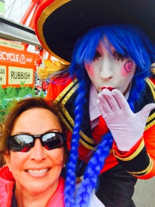 Selfie with Stilt Lady at Luna Park in Sydney, Australia.