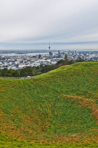 Mt. Eden Volcano Crater and Auckland View