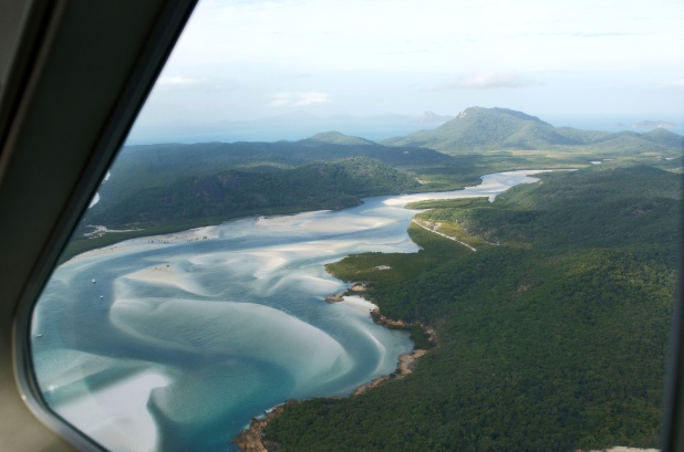 The Confluence of the white sand beach