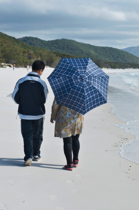 Random Tourists on a deserted beach